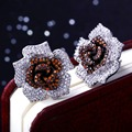 Hot Unique Color Crystals Quality Cubic Zircon Lady 354 pcs of CZ Micro Pave Setting Fashion Jewelry Flower Rose Stud Earring