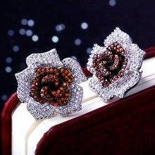 Hot Único Color Cristales Calidad Cúbicos Circón Señora 354 unids de la cz micro pave configuración joyería de moda flor de rose del perno prisionero pendiente
