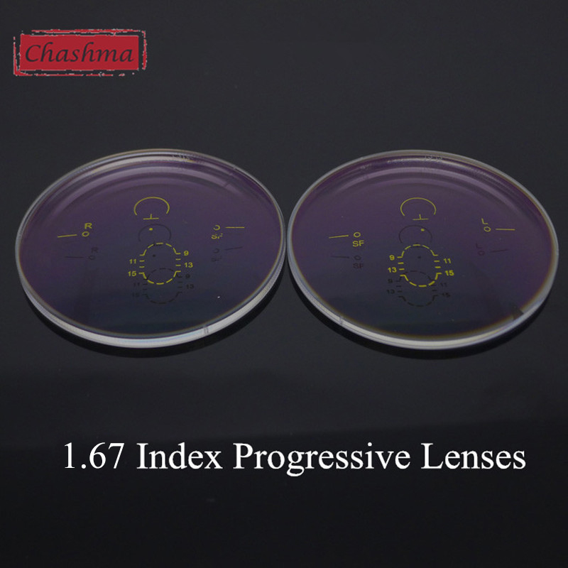 Chashma Anti UV Anti Stråling Aspheric 1,67 Tyndt Indeks Gratis Form Wide Field Verifocal Linser Interiør Progressive Objektiver