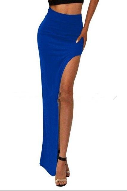 New Brand Designer summer Hot Sale 2016 Novelty  Sexy Women Skirt Lady Open Side Split Skirt High Waist Long Maxi Skirt 6