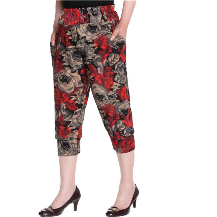 New 2018 Summer Style Women Floral Printed harem   pants   women's casual 7 minutes   pants   ladies loose   Pants   &   Capris   G001111