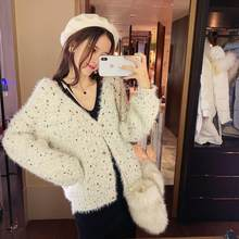 2019 MISHOW Autumn winter daily causal Knitted coat women long sleeve Single-breasted white Knit cardigan MX18D5623(China)