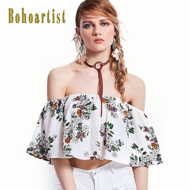 78d0ea873b8 Bohoartist Apparel Women Bohemia Short Tops Floral Slash Neck Slim Off  Shoulder Sexy Blouse Summer Ladies Beach Tube Top Tees