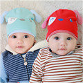 Cute Print Rabbit Ear 100% Knitted Cotton Hats For 3-8 Month Toddler Baby Two Layers Warmer Ear Caps Beanies