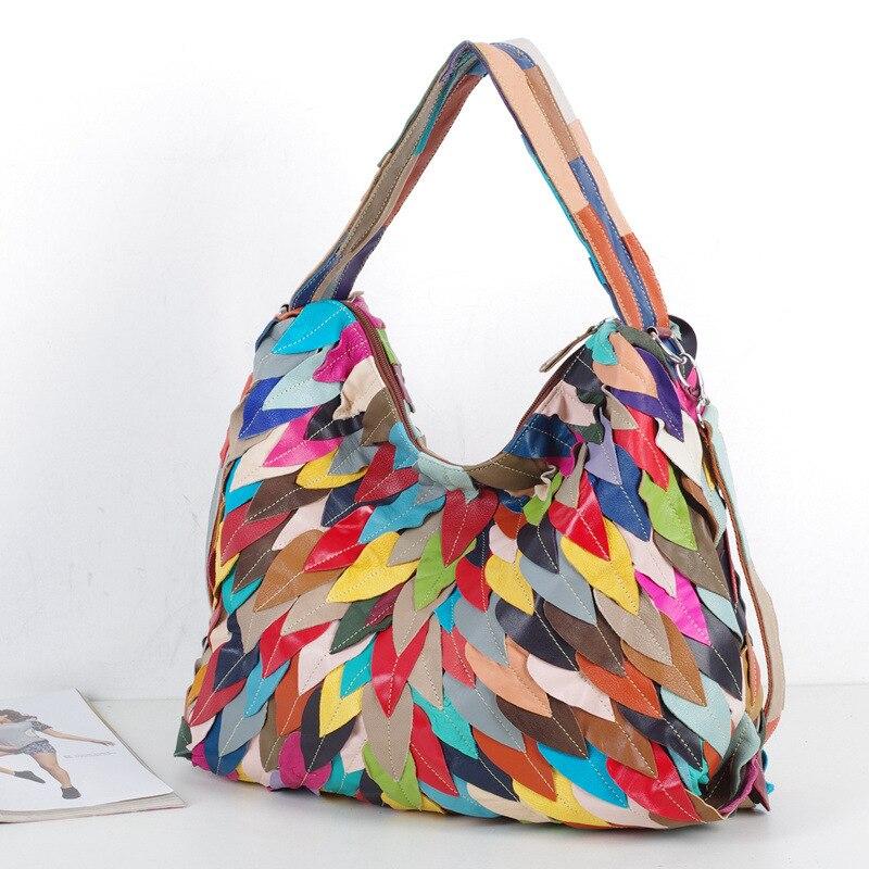 все цены на Caerlif Top-handle bags Women Famous Leather Shoulder Crossbody Handbags Genuine Leather Bag Bolsas ladies tote colorful bag онлайн