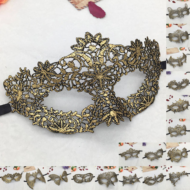 Lovely Pet Golden Hot Stamping Ladies Sexy Lace Masquerade Mask for Carnival Halloween Porm Half Face Ball Party Masks #30