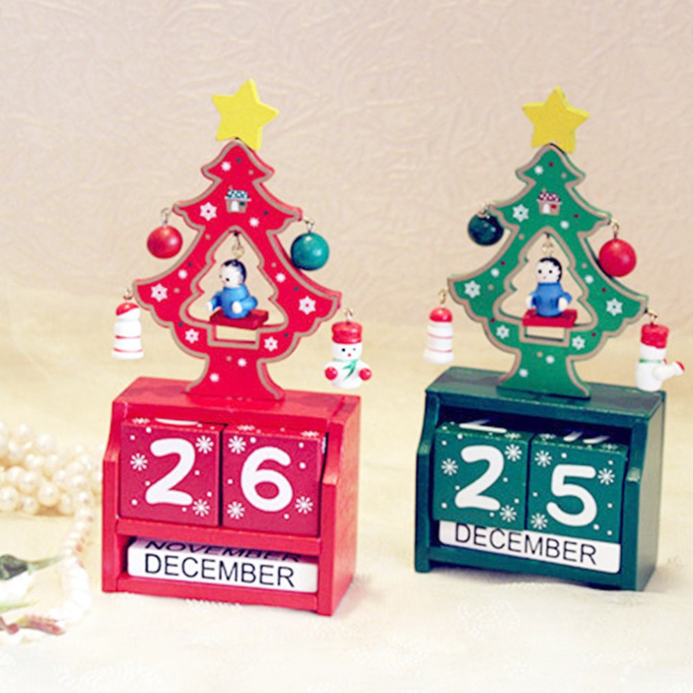 Christmas Countdown Wooden Calendar Decorations Home Officel Desk Decor Ornaments Artificial Craft Decoration Art Gifts