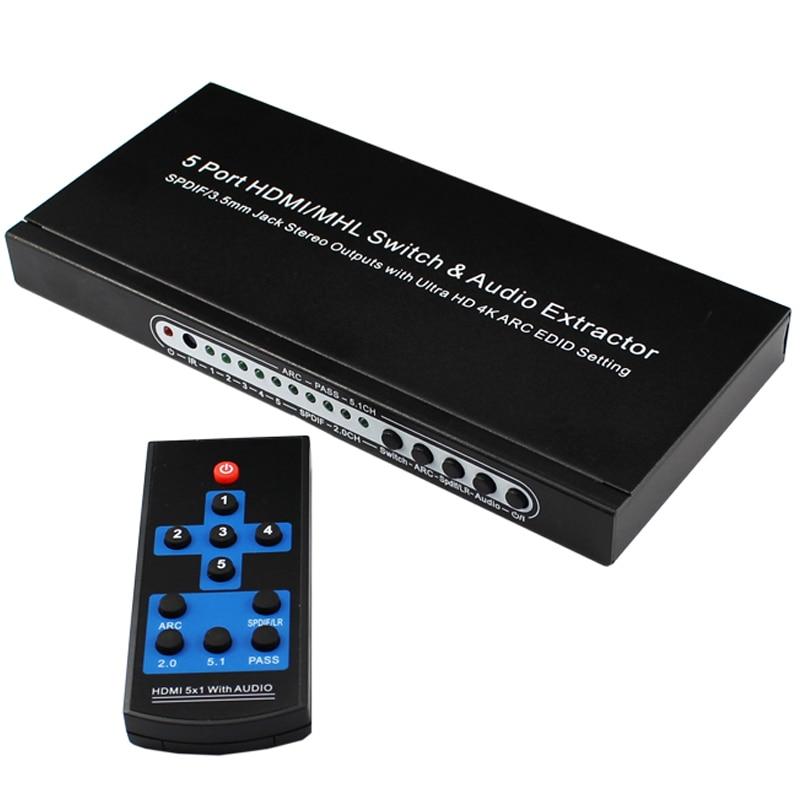 5-Port 4K HDMI Umschalter Umschalter Splitter Hub mit Fernbedienung für HDTV