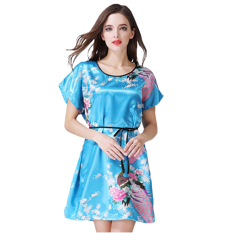 Chinese Vintage Print Lady Robe Dress Nightgown Peacock&Flower Nightdress Sleepwear Women Satin Rayon Nightwear One Size