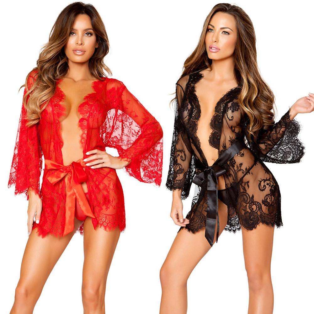 Women Sexy Lace Sleepwear Dress G-string Lingerie Babydoll Mesh Nightgown Sleepwear Nightdress Robe
