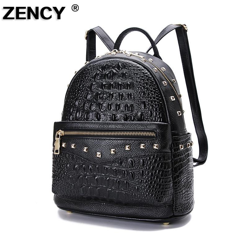 ZENCY 2019 Crocodile Pattern Real Genuine Leather Cowhide Women's Backpack School Shopping Bag Party Ladies Female Backpacks