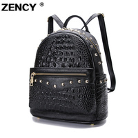 ZENCY 2019 Crocodile Pattern Real Genuine Leather Cowhide Women's Backpack School Shopping Bag Party Ladies Female Backpacks
