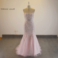 New Style Sweetheart Beading Tulle Mermaid Luxury Prom Gown Women Long Evening Dress