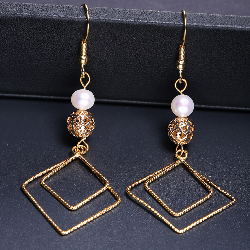 DAIMI Unique Design Drop Earrings Square Shape Handmade Jewelry 6-7mm Nearly Round Freshwater Pearl Earrings rectangle design drop earrings