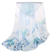 Women's Scarf Spring and Summer New Arrival 2018 Small Flowers Chiffon Silk Scarf Long Section Printed Scarves for Ladies Shawl