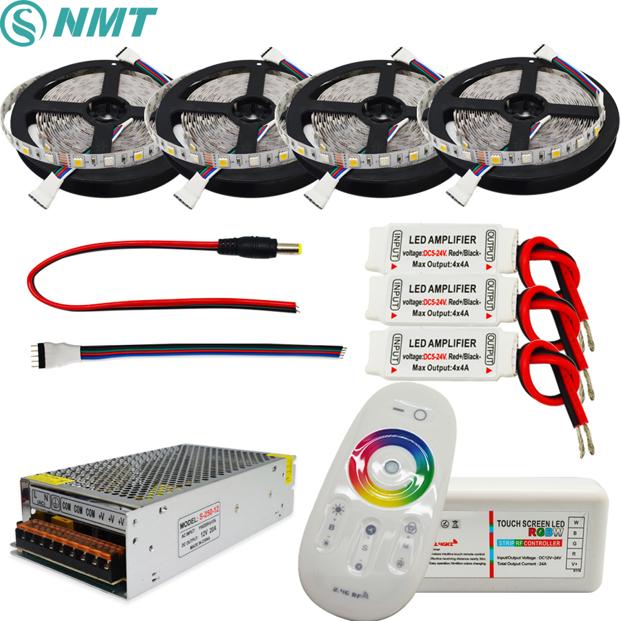 Led Strip 5050 SMD RGBW Led Flexible Light 5m 60led/m+2.4G RF Remote controller + Power adapter +Amplifier Kit 5M 10M 15M 20M