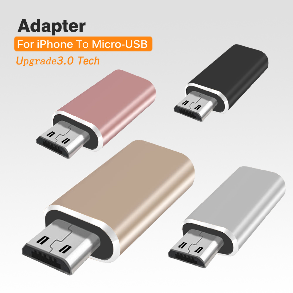 For lightning to Micro USB Adapter 8 pin iPhone Female Male for connector