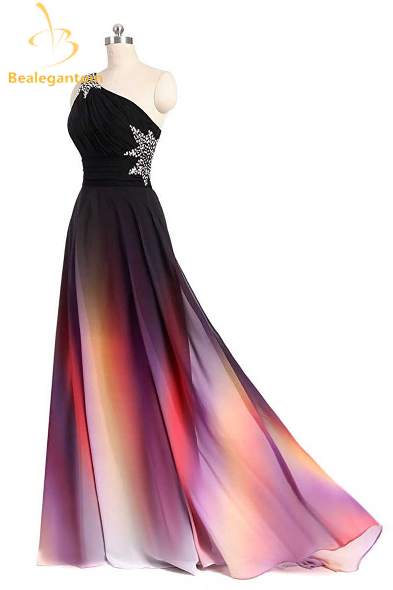 4049163893661 ... Bealegantom Fashion One Shoulder Ombre Prom Dresses 2018 With Chiffon  Plus Size Evening Party Gowns Vestido ...
