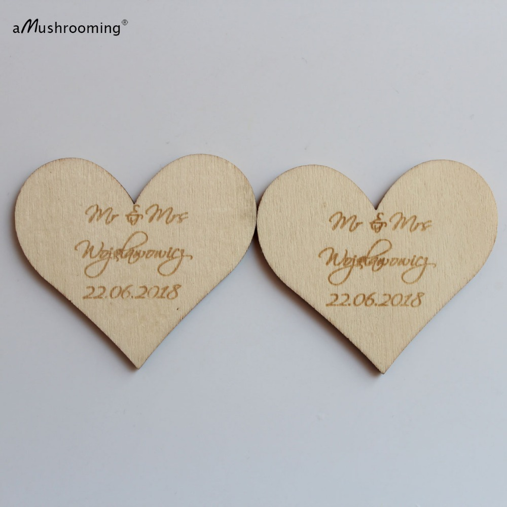 Custom Engraved Wedding Name and Date Wooden Heart Tags(500) Gift ...