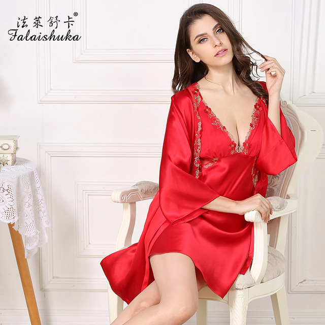 Women Pure Silk Nightgowns Two-Piece Robe Sets 100% Mulberry Silk Bathrobes Pijama Sexy Lace V-Neck Princess Sleepwear S82013