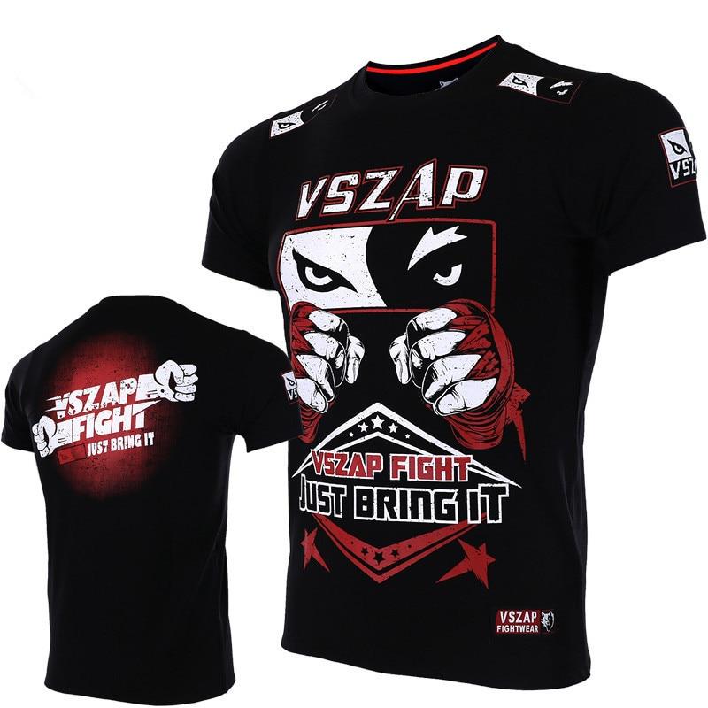 2019 новый мужской фитнес бой Санда футболка ММА модные футболки с короткими рукавами UFC борьба спортивные Муай Тай Боевые искусства трениров...