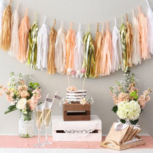 5pcs 35cm Tissue Paper Tassels Garland Valentines Wedding Home Decoration Baby Shower Birthday Craft Party Supplies Accessories