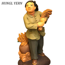 30cm chinese style People statue harvest Home decor statues Custom Wood Clay sculpture Handmade Craft escultura