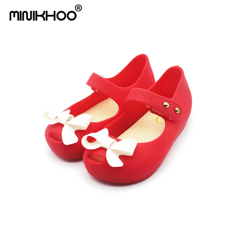 Mini Melissa Cute Girl Bow Jelly Sandals Girl Shoes Bow Shoes Breathable Children Sandals Princess Shoes High Quality EUR 24-29
