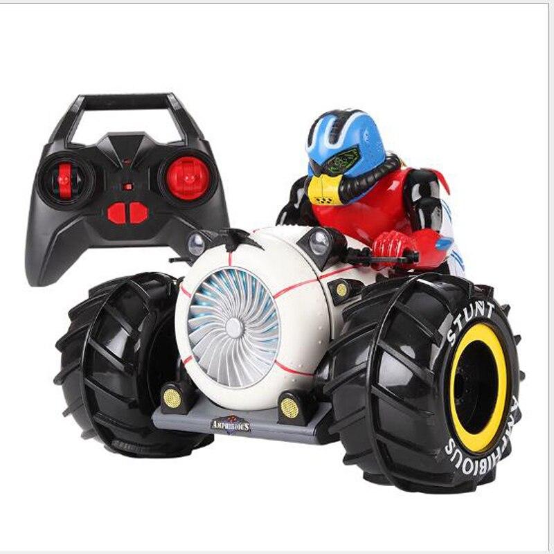 2.4G RC voiture Dirt Bike Rock chenille amphibie radiocommande moto cascadeur véhicule de course modèle lumière électrique passe-temps jouets