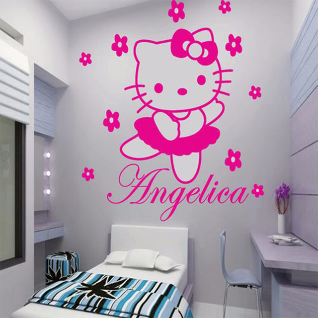HELLO KITTY   Custom Name Vinyl Wall Art Wall Decals For Princess Fairy  Rooms Decor