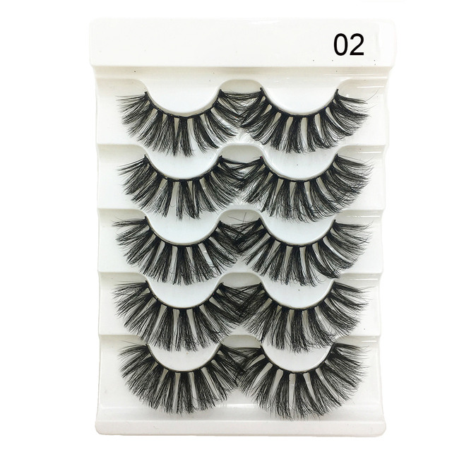 5Pairs New 3D Faux Mink Hair Soft False Eyelashes Fluffy Wispy Thick Lashes Handmade Soft Eye Makeup Extension Tools Wimpers 4