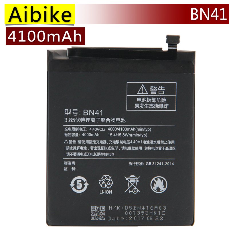 New original mobile phone battery BN41 For Xiaomi Redmi Note 4 Hongmi Note4 Replacement Batteries 4100mAh rechargeable Battery