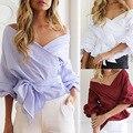 Serie kaywide 2016 blusa de las mujeres del otoño hombro media manga ocasional sólido crop tops streetwear camisa para las mujeres a16224