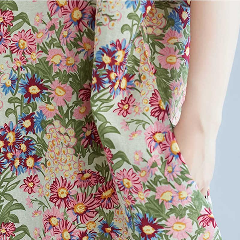 fea45ff3cc239 2019 Summer Fashion Floral Print Dress Women Short Sleeve Loose Linen  Dresses Plus Size Casual Dress For Women 4xl 5xl 6xl