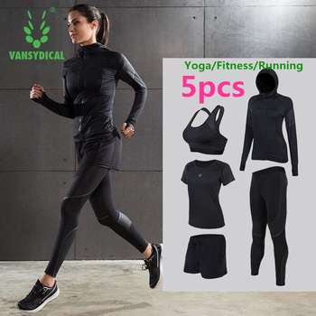 Women's Yoga Sportswear Quick Dry Training Fitness Suits 5-pcs