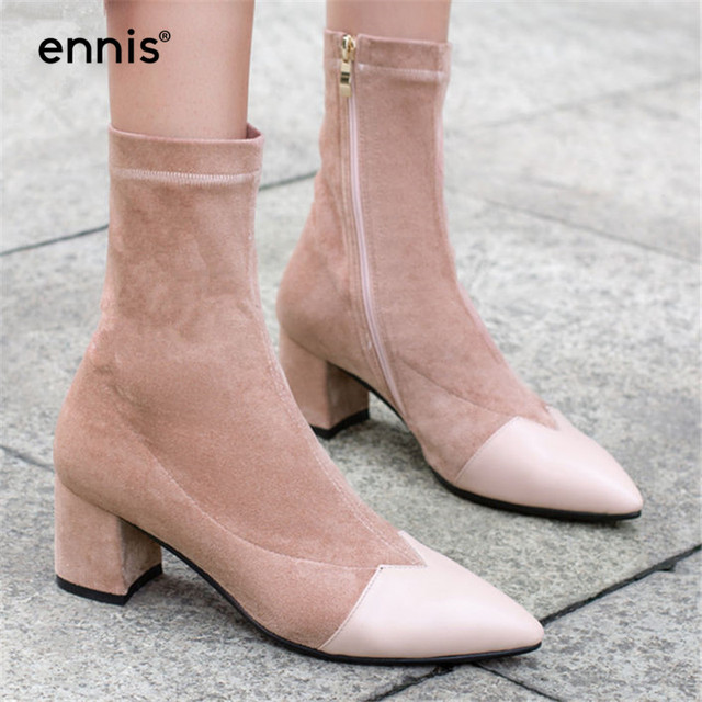 ENNIS 2019 Fashion Women Boots Spring Autumn High Heels Shoes Pointed Toe Fabric Stretch Boots Chunky Heel Ankle Boots New A921