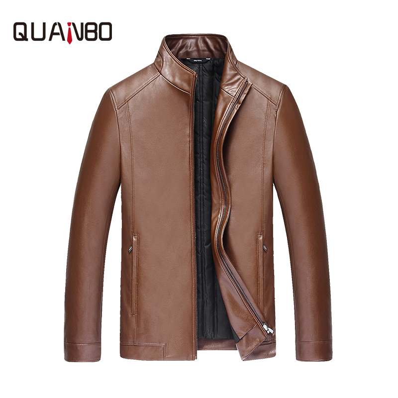 QUANBO 2018 New Arrival Winter Fashion Duck   Down   Leather Jacket Casual Winter Thick Warm PU Leather Men's   Down     Coat   M-4XL