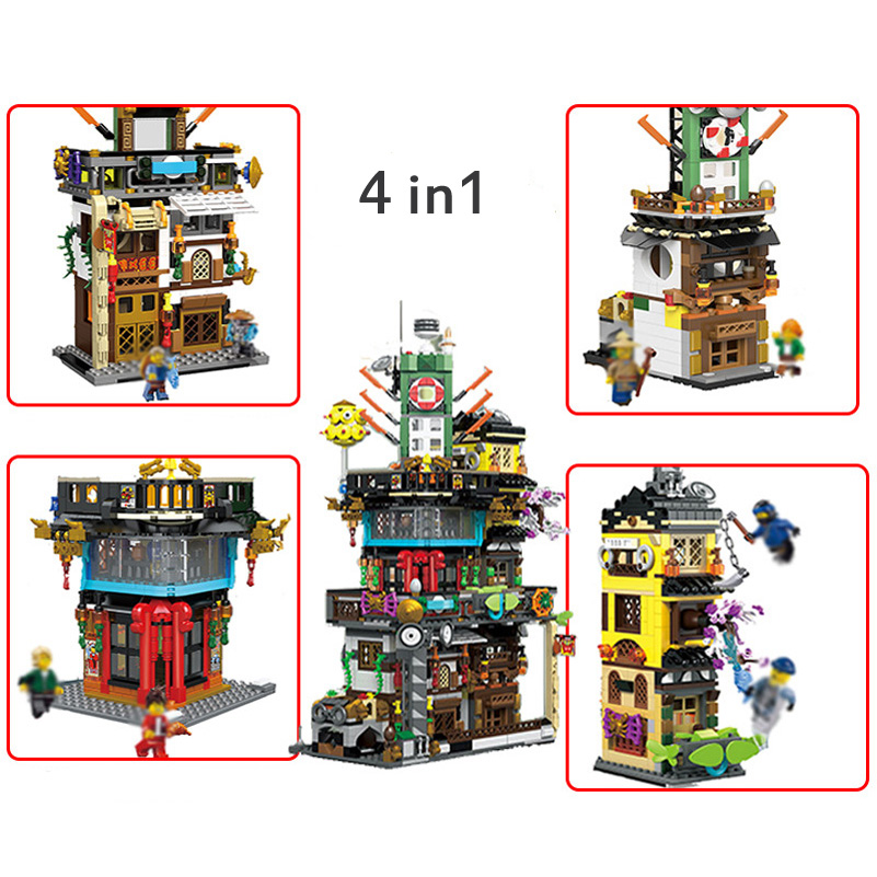 Lepin Ninjago Series Building Blocks 4 in 1 City Headquarters 1955pcs Compatible Bricks Toys For Children Birthday Gifts hot sembo block compatible lepin architecture city building blocks led light bricks apple flagship store toys for children gift