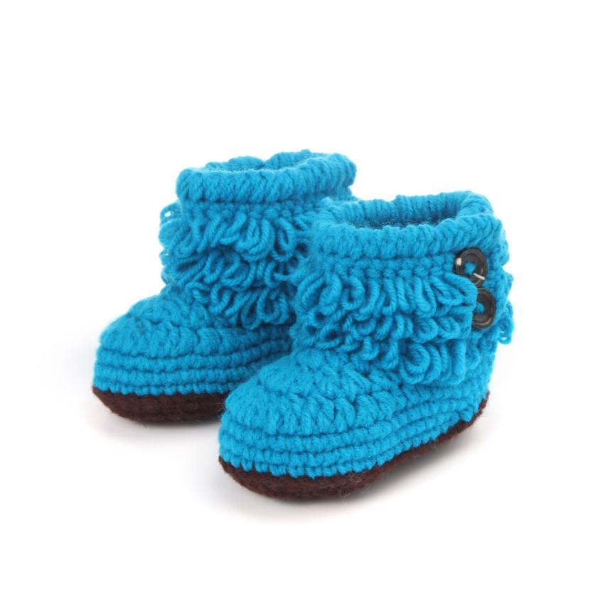 LONSANT First Walker 2018 Baby Girls Shoes Crochet Handmade Knit High-top Tall Boots Shoes Winter Children Shoes Dropshipping