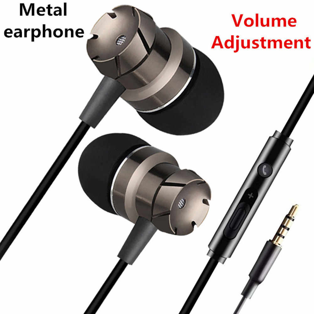 Suara Bass Earphone 3.5 Mm Isolasi Kebisingan dengan MIC Bass Logam Sport Headset Headphone untuk iPhone/Android Ponsel MP3 PC Laptop