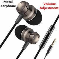 Auriculares de Bajo sonido 3,5mm aislamiento de ruido con micrófono Bass Metal auriculares deportivos para iphone/teléfono Android MP3 Pc Laptop