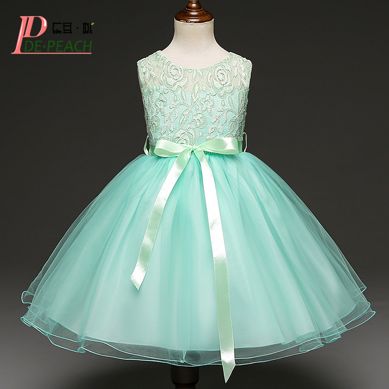 DE PEACH Summer Sleeveless Baby Girls Party Dress Children Clothing Flowers Lace Kids Wedding Dresses Princess Christmas Vestido ems dhl free 2017 new lace tulle baby girls kids sleeveless party dress holiday children summer style baby dress valentine