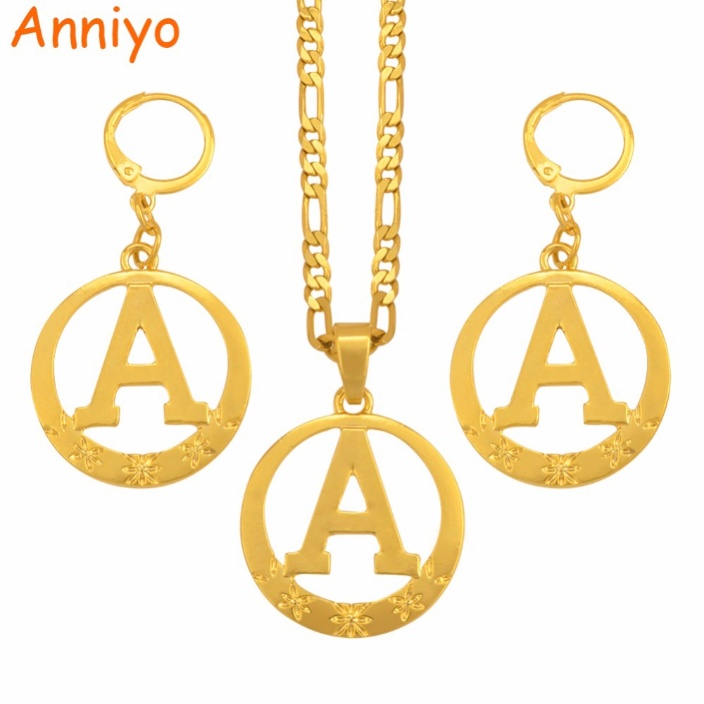 Anniyo A to Z Gold Color Alphabet Necklace Earrings Initial for Women Girls Round English Letter Jewelry Gifts #105106 все цены