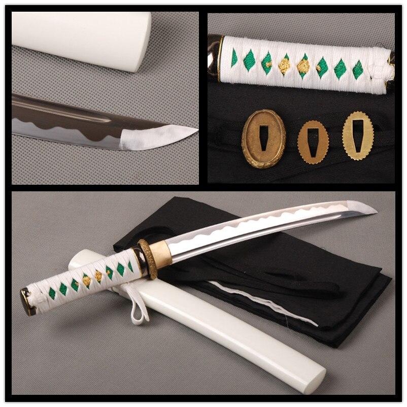 Japonais Samurai Cosplay Tanto Épée Pleine Main Sharp Bord Épée Pleine Saveur De Coupe Pratique Couteau Haute En Acier Au Carbone avec Salut