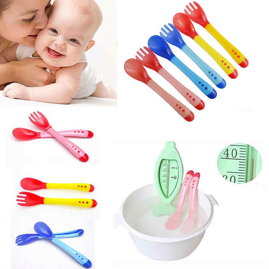Baby Soft silicone Feeding Fork and Spoon For Baby Safety Feeder Temperature Sensing Spoon Baby Flatware Feeding Spoon Tableware