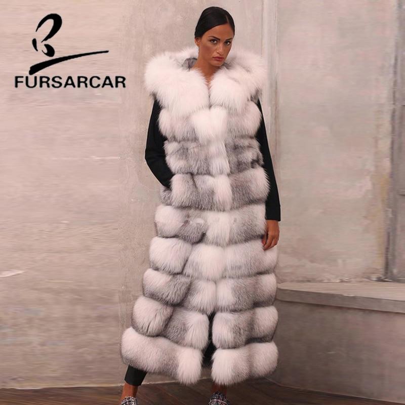 FURSARCAR Настоящее Меховой жилет для Для женщин с лисьим мехом капюшоном натурального меха лисы Жилет 130 см зиму жилет