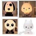 Novo Plug UE Lâmpadas Do Quarto Do Bebê Luz Da Noite de Coelho Dos Desenhos Animados de Animais de Estimação Panda Sono Garoto Levou Lâmpada Noturna para Crianças de Plástico PVC