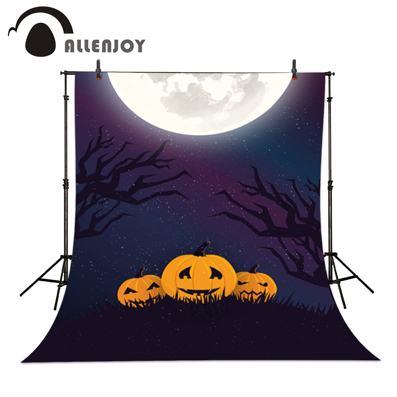 Allenjoy Photographic backdrop Purple Moon Pumpkin Branch Halloween Cartoon Baby Party Photocall backgrounds for photo studio allenjoy background for photo studio full moon spider black cat pumpkin halloween backdrop newborn original design fantasy props