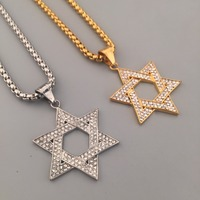 18K Gold Silver Plated Hexagram Star Of David Pendant Prayer Amulet Rhinestone Iced Out Necklaces Hip