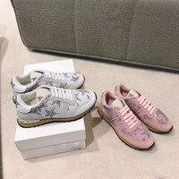 2018 shaduo Кружево Повседневная камуфляж цвет обувь алмазов галстук в Женская обувь модные дышащие женские кроссовки